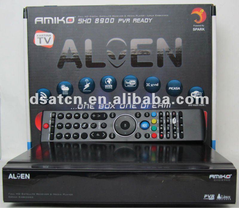 New Arrival!!free shiping! Amiko SHD8900 HD Alien satellite receiver free shipping 5pcs/lot(China (Mainland))