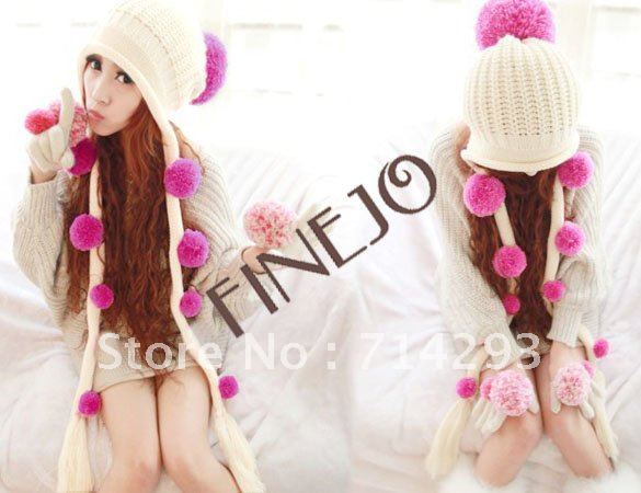 Women's Girls Fashion Lovely Ball Winter Earflap Knit Hat Beanie Cap Hot free shipping 6231(China (Mainland))