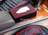 Free shipping/Car tissue box/Hot sale Very fashion Red Wine leather series of high-grade Tissue box/Wholesale+Retail
