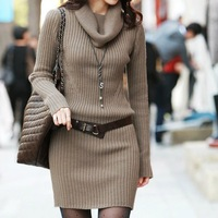 2012 autumn and winter dress women's slim turtleneck one piece  long design sweater dress Red/black/coffee/gray 5colors