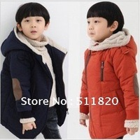 free shipping children's new winter long zipper padded coat,boy's fleece inside long warm coat,parkas,110~140