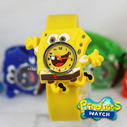 SpongeBob Cartoon Kids Watch Promation Fashion Silicone Jelly Wristwatches Mixed Colors Christmas Gifts(China (Mainland))