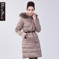 Free shipping 2012 winter fashion long sleeve length detachable cap white duck down slim down coat 10545a
