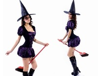 1 Piece Free Shipping,Halloween Witch Costumes,Hat+Dress,Purple,Free Size,0.15Kg/Piece,FWO10051