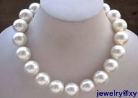 beautiful wholesale Noblest 20mm white sea shell pearl necklace 17 inch bridal jewelry