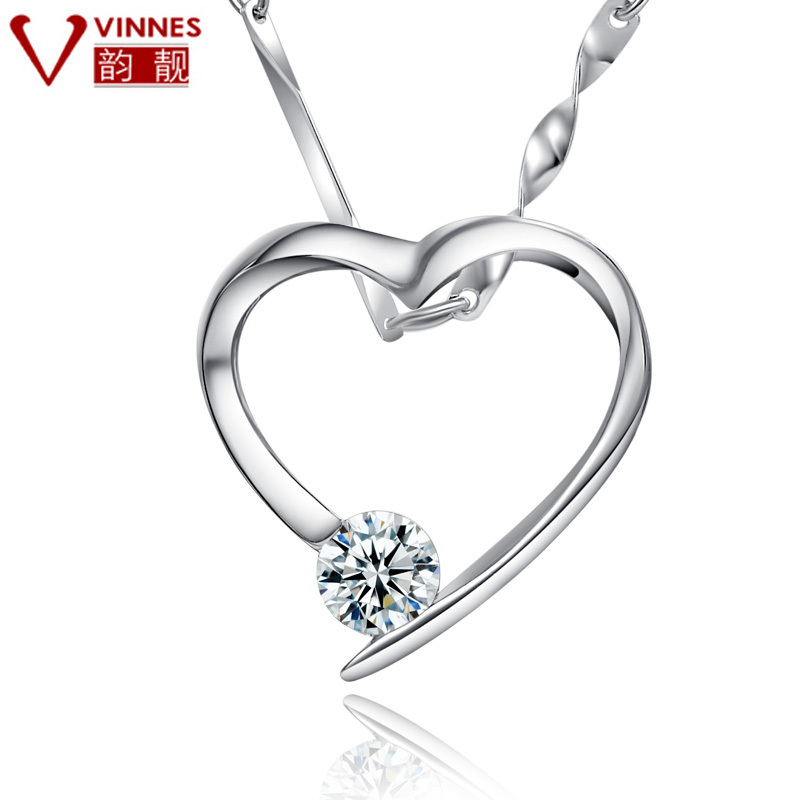 Free Shipping Heart pendant necklace lock pendant pure silver female love necklace chain vintage box marriage(China (Mainland))