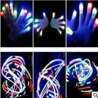 free shipping,50pairs/lot ,6 Mode LED Flashing Light gloves ,Glow Rave Party Finger Gloves, Magic gloves