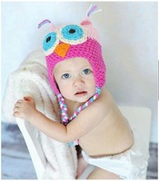 6 Colors Best price - Handmade Knitted Crochet Baby Hat owl hat with ear flap Free shipping 10pcs/lot  h03