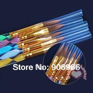 2-Ways Sable Acrylic Kolinsky Nail Art Brush Pen Cuticle Pusher Nail Brush 5Pcs/Set Free shipping