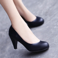 2012 autumn women's shoes fashion genuine leather round toe black high-heeled shoes single shoes princess shoes plus size