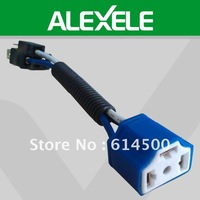 Blue 14.5CM Ceramic 16GAW 12VDC Automobile H4 Female And Male Socket Headlight Bulb Holder With Plug Connector