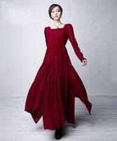 D128 2012 new high quality women's new  Dark red linen long sleeve  maxi dress