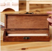 2014 Retro wooden tower writing case pencil holder high qualty 19*7*3.6cm free shipping