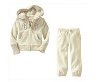 Children's clothes 2014 new thickening cotton cashmere children suit white 2T--6T
