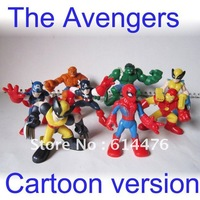Free shipping 200PCS/Lot (8pcs/set)Marve Cartoon version The Avengers Hulk+Captain America+Spiderman+Thing Figure