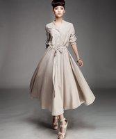 D127 cream color  2012 new high quality women's new  linen maxi dress long coat
