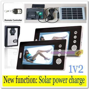 2v1 Newest Solar power charger Wireless 7inch photo-memory video intercom door phone system with remote control free shipping