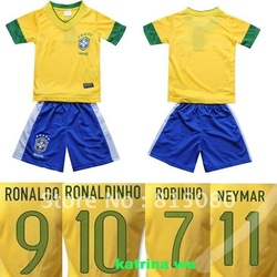 THAILAND 12/13 RONALDO RONALDINHO ROBINHO NEYMAR Brazil home yellow football jersey,kids soccer uniform kit child Soccer Jersey(China (Mainland))