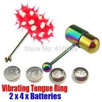 2Pcs Vibrating Tongue Bar/Ring + 8 Free Batteries for Body Piercing BJA-009+001