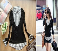 2013 plus size clothing new arrival long-sleeve spring white collar ol sweaters black xl xxl xxxl