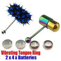 2Pcs Vibrating Tongue Bar/Ring + 8 Free Batteries for Body Piercing BJA-010+001