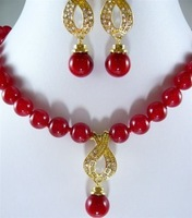 Emerald Fashion Woman lady Jewellery Women 10mm red jade necklace & red shell earring pendant set shipping free