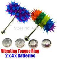 2Pcs Vibrating Tongue Bar/Ring + 8 Free Batteries for Body Piercing BJA-012+011