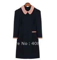 Autumn dress spring and autumn long-sleeve dress women slim brief peter pan collar free shipping