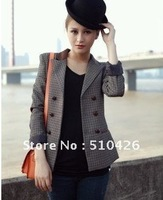 Japan Womens Plaid Flannel neckline PU leather jacket