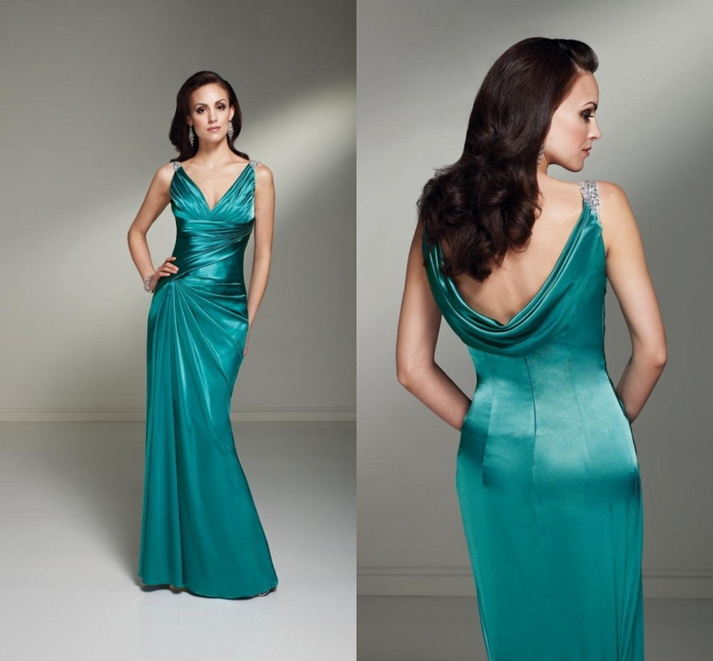 beaded green satin cowl back women s wedding guest dresses