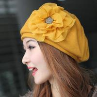 free shipping,Autumn and winter woolen octagonal hat pumpkin hat big flower a11054