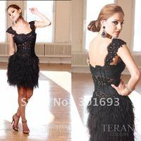PD079 girls short black evening party sequin feather dress