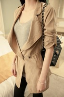 2012 autumn new arrival women's casual formal turn-down collar epaulette trench thin outerwear female