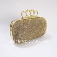 Gold Glitter Metallic Duster Knuckle Evening Bag Clutch Purse With Rhinestones