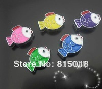 100pcs 8mm Mix color Fish slide charms DIY accessories  NO:001