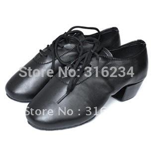 Free Shipping Black Leather Men's Shoes Latin Dancing Shoes Male Shoes 4.5cm High Heel Dancing Shoes