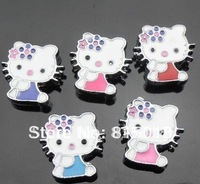 100pcs 8mm Mix color Cat slide charms DIY accessories can through 8mm band
