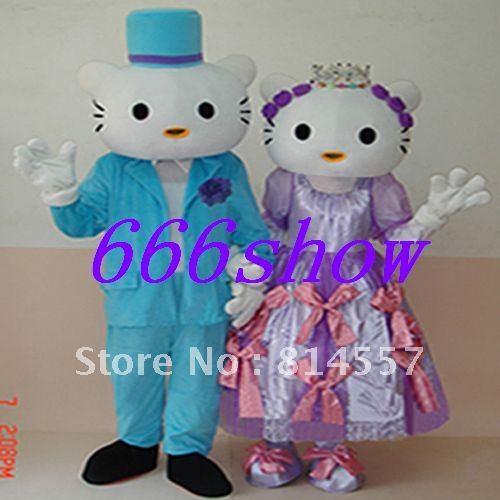 Hello Kitty Boy ANd Girl Cartoon Mascot Costume Halloween gift costume characters sex dress hot sale(China (Mainland))