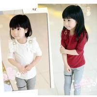 free shipping autumn child female child 100% cotton chiffon strap long-sleeve T-shirt basic shirt 5pcs/lot