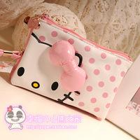 Hello kitty pink polka dot bow zipper coin purse mobile phone bag women's tote bag