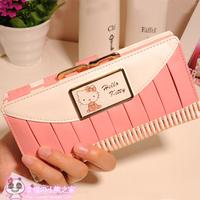 Hellokitty milk pink pleated bow long design wallet women's
