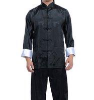 New Black Chinese men's silk kung fu suit pajamas SZ: M L XL 2XL 3XL Free Shipping WJ2369