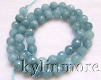 8SE09396a 8mm SkyBlue Jade Faceted Round Beads 15.5''