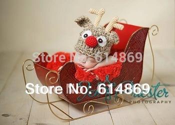 free shipping,10pcs/lot Christmas reindeer baby handmade crochet hats,children's Beanie Caps 100% cotton