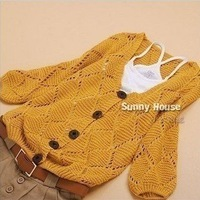 Free Shipping Korean design women's half sleeve hollow out cardigan lady loose knitted sweater