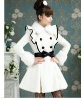 Free Shipping 2013 white artificial rabbit ruffle fur collar Women overcoat , plus size Brand Ladies Winter Jackets Long