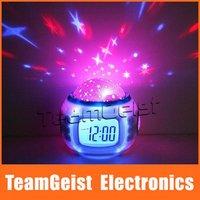 10pcs/lot Backlight Color LED Starry Star Sky Projection Calendar Music Thermometer DIgital Alarm Clock