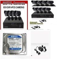 HOT SELLING !Home 1PCS 8CH CCTV DVR 1PCS 4CH 12pcs 600TVL Day Night Weatherproof Security Camera Surveillance System