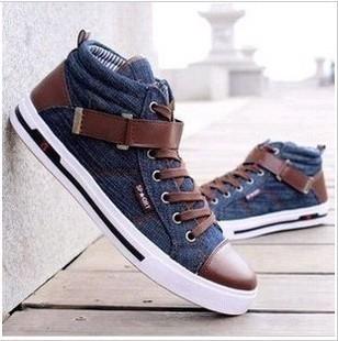 осень, мужчин среднего вырезать Холст обувь джинсовая шнуровкой ткани Обувь липучки холст дышащая