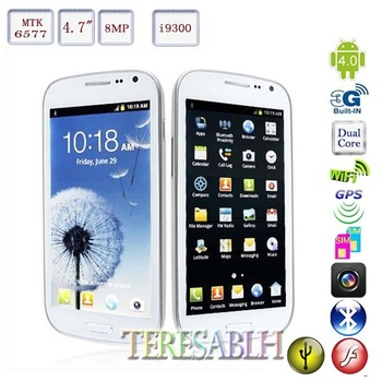 MTK6577 Free ROOT Android 4.1 Dual Core 1.0Ghz i9300 4.7 inch AMOLED Capacitive support 8MP GPS WIFI 3G Unlock Android Phone